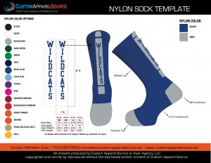 Wildcats socks Nylon Mockup_